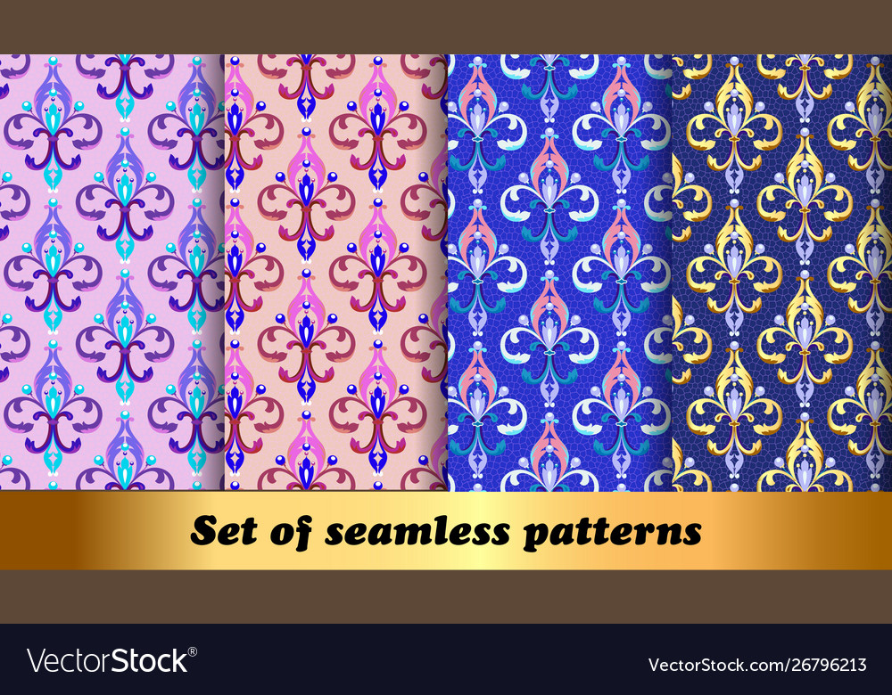 Set floral seamless patterns with fleur de lis