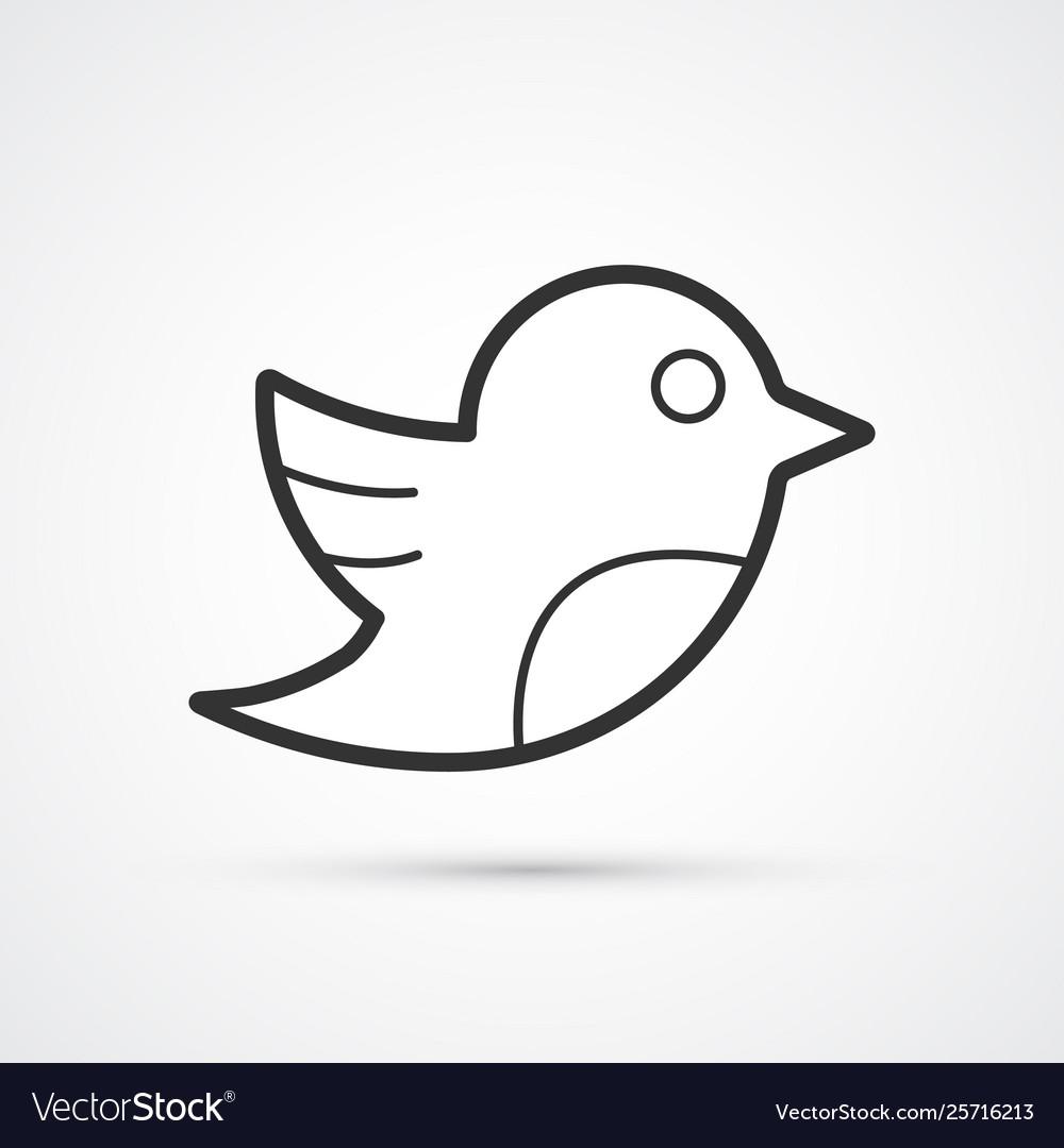 Social bird flat line trendy black icon eps10