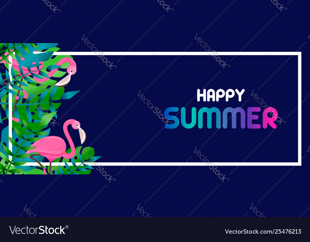 Summer banner tropical leaves and flamingo