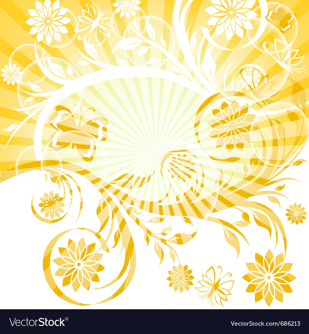 Sunny floral ornament vector image
