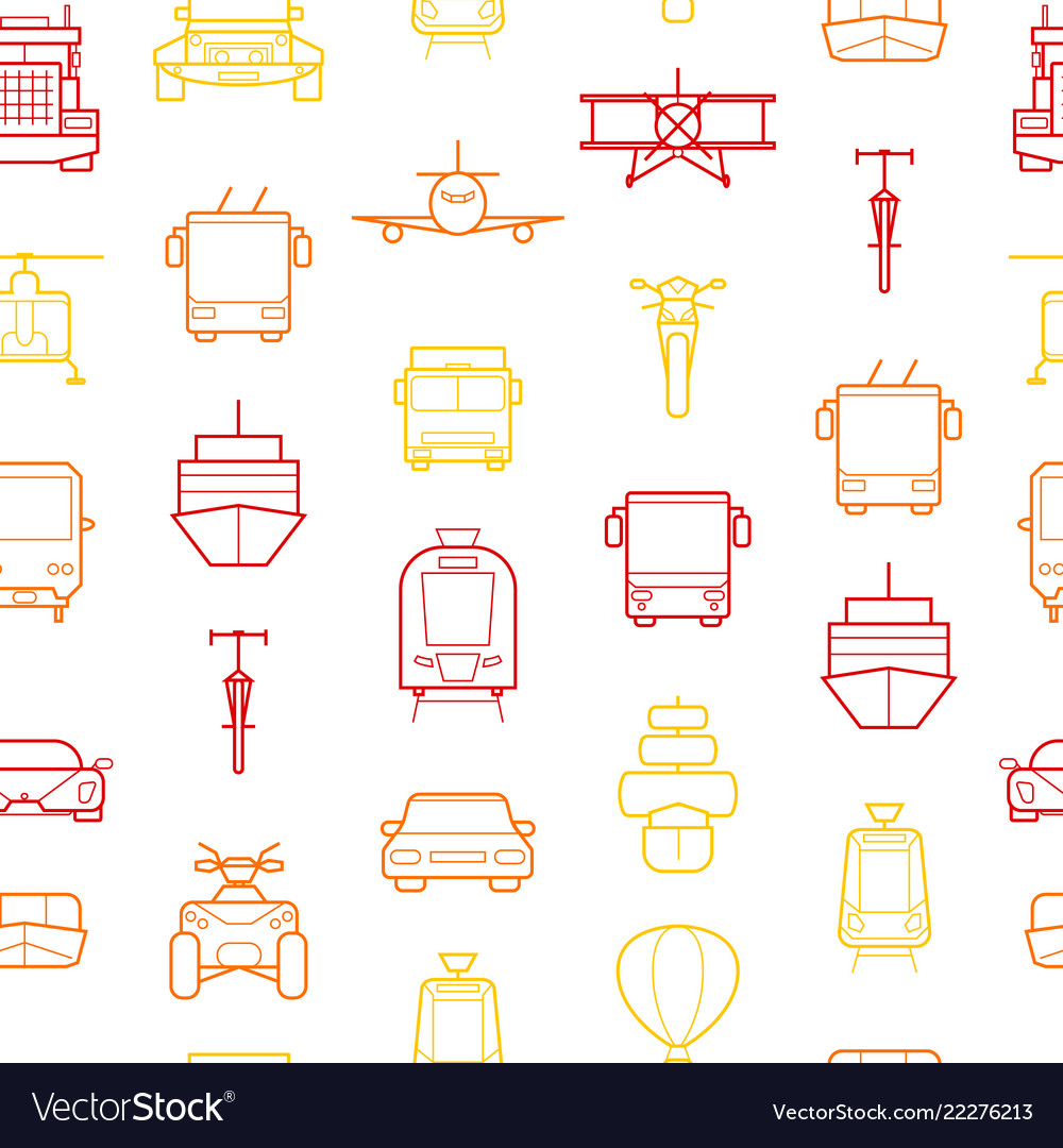 Transport thin line seamless pattern background