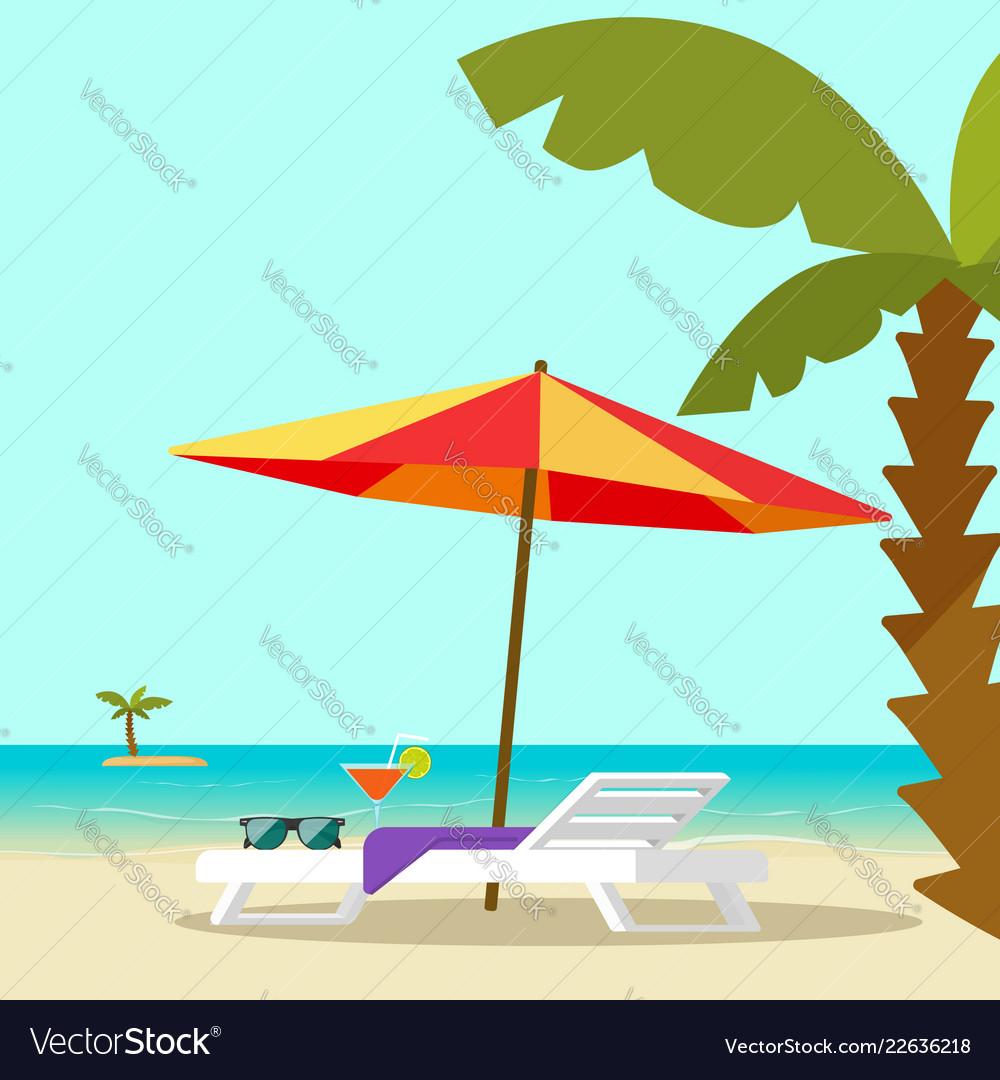 Beach lounge chair near sea and sun umbrella and