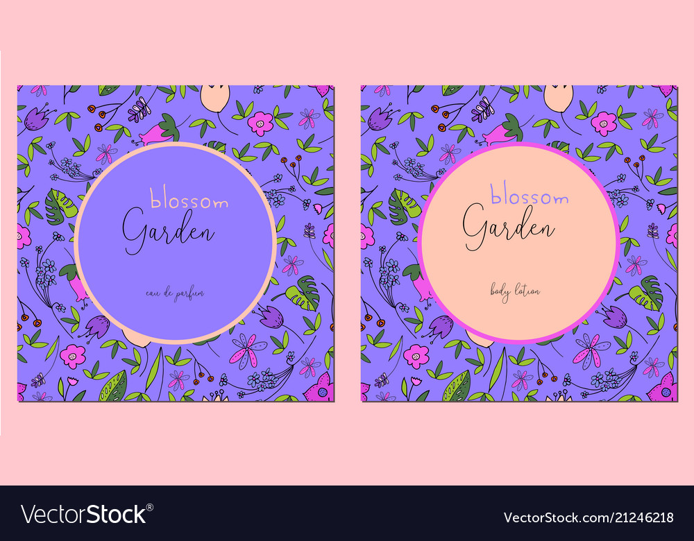 Beautiful floral pattern label