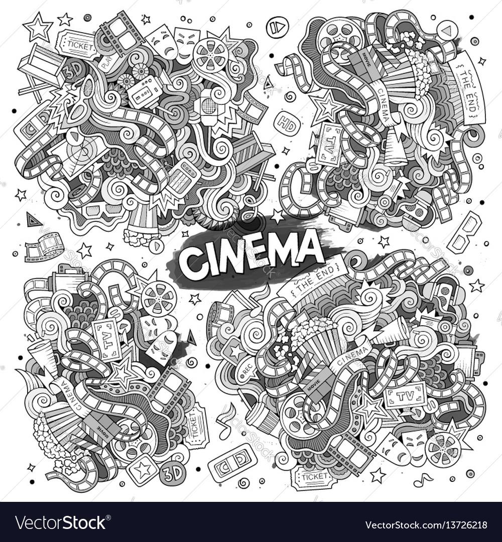 Cinema movie film doodles sketchy designs