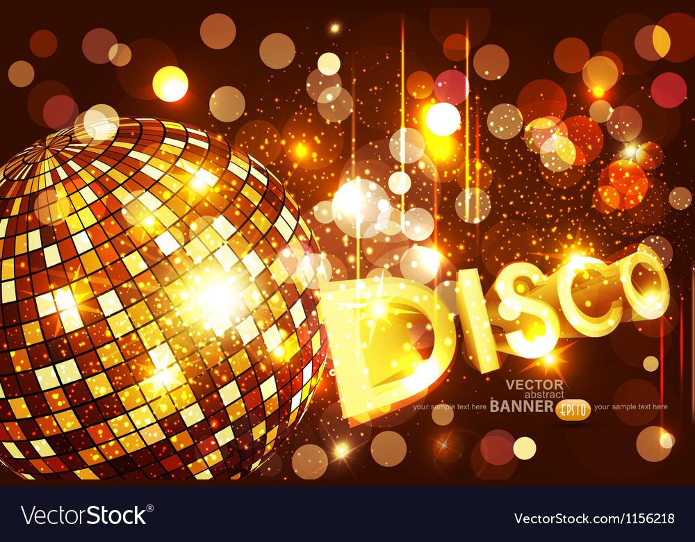 Disco background with golden disco ball
