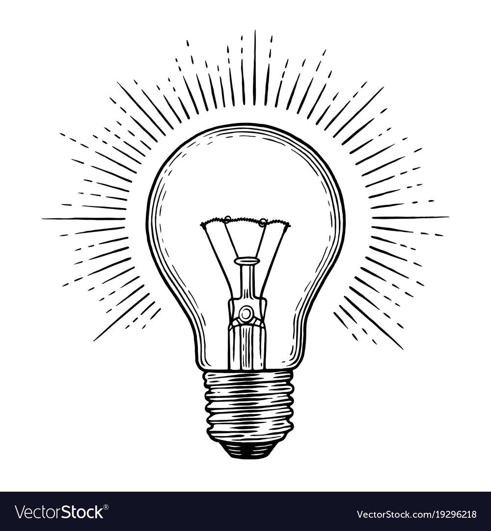 light bulb vector  Engraving light bulb Royalty Free Vector Image