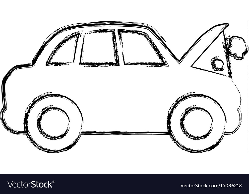 Figure car burnt engine and dangerous diagnostic vector image