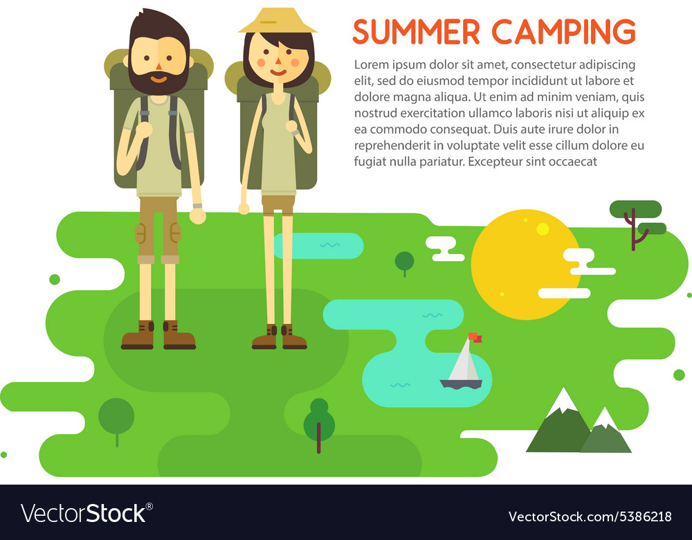 Flat cartoon couple with hiking equipment isolated