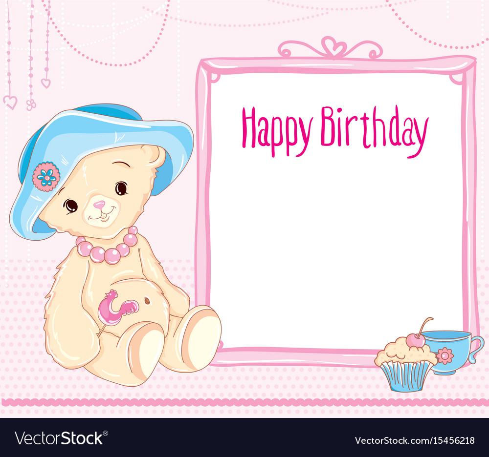 Happy birthday bear hat pink card