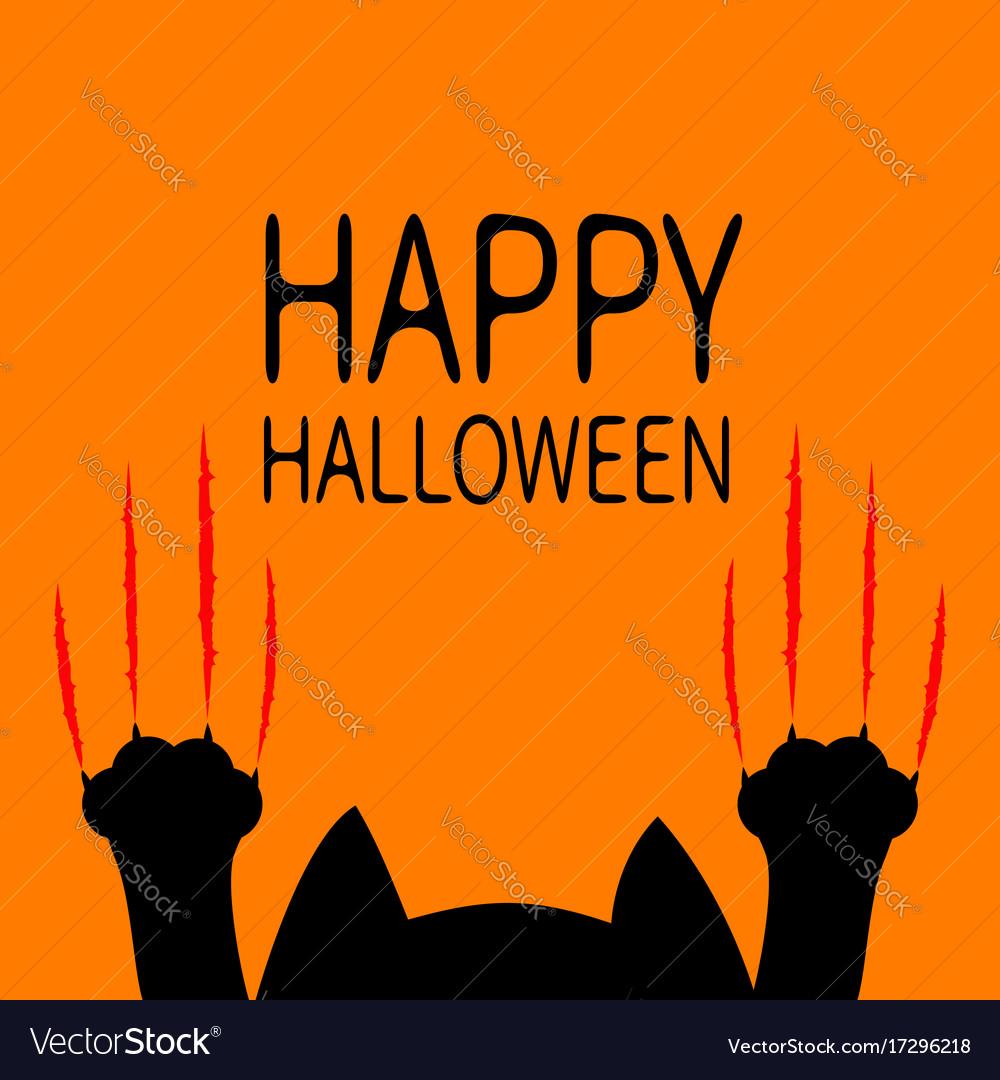 Happy halloween card black cat paw print head