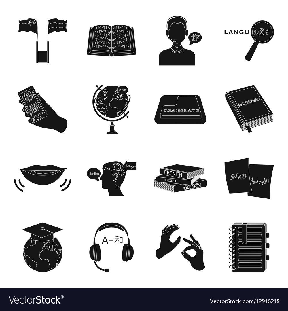 Interpreter and translator set icons in black