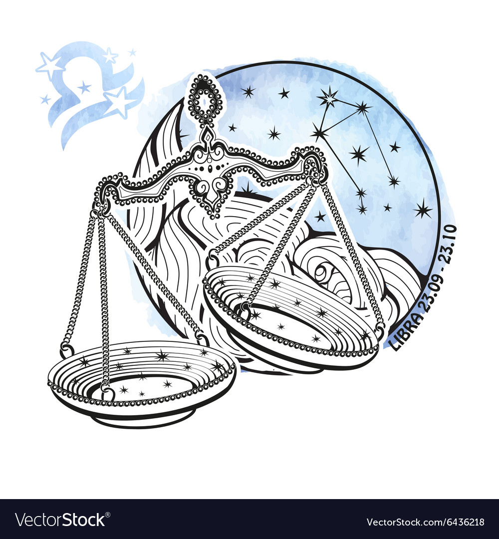 Libra zodiac signHoroscope circleWatercolor vector image