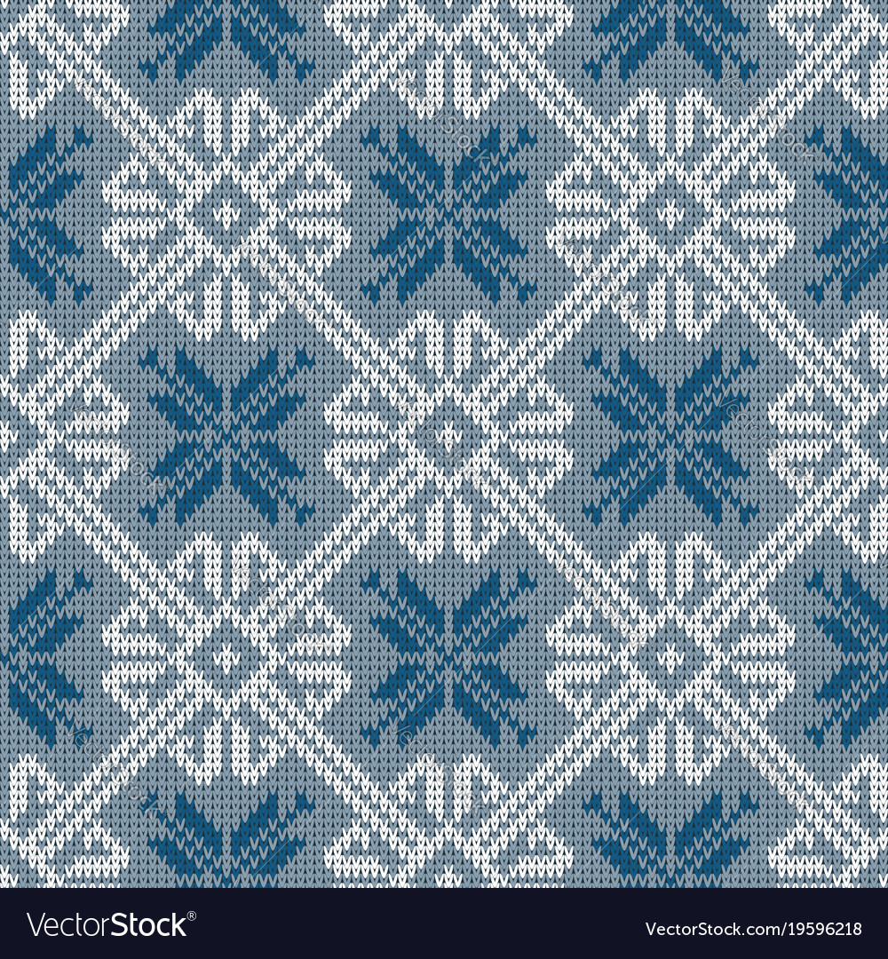 Norwegian Knitted Pattern With Snowflakes Vector Image