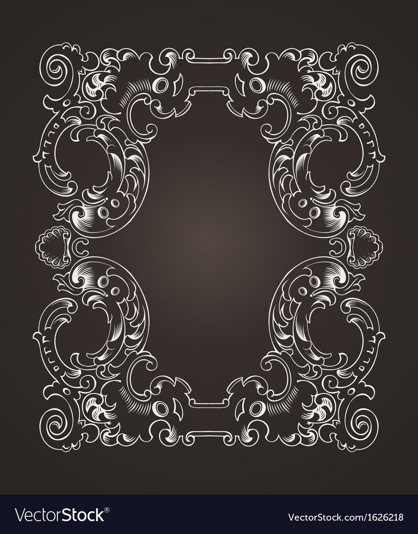 Ornate Frame On Brown vector image