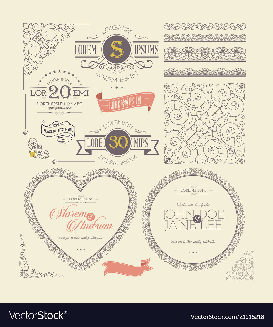 Ornate frames vintage labels and lace elements