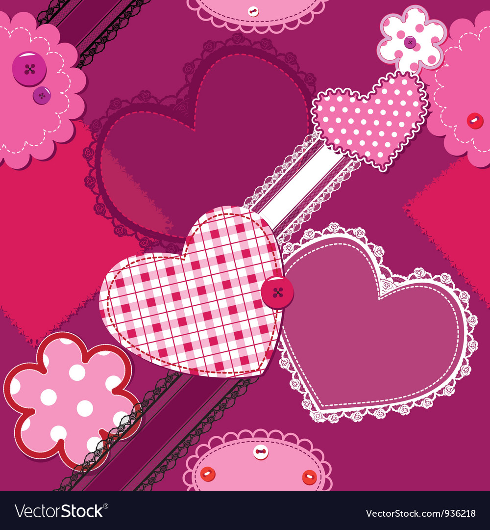 Scrap vintage hearts and laces seamless pattern vector image
