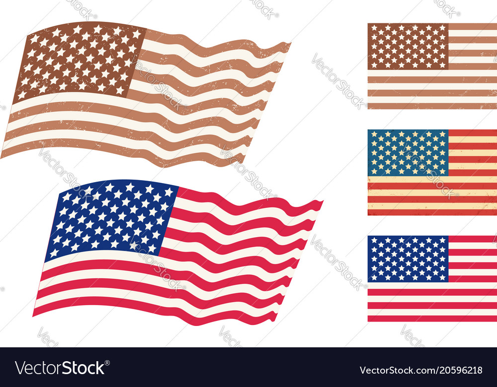 Set american flags