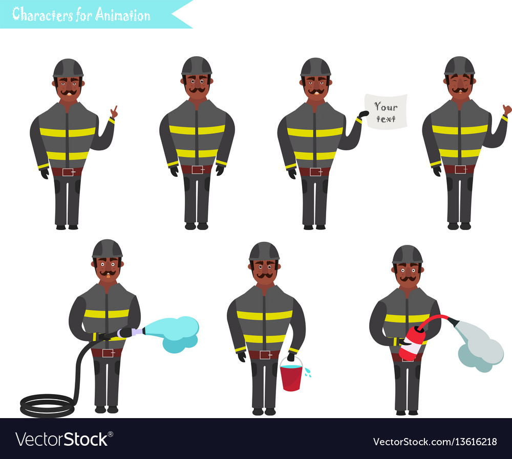 Set for animation of firefighters in uniform