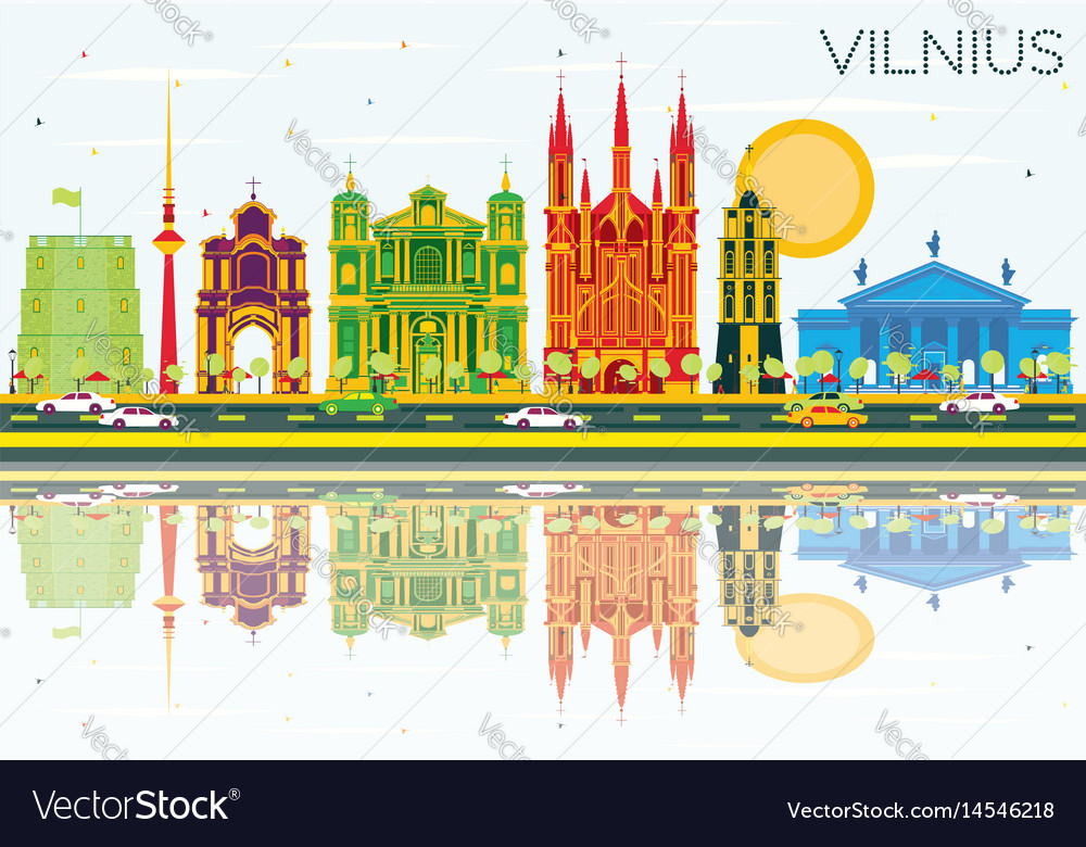 Vilnius skyline with color buildings blue sky and vector image