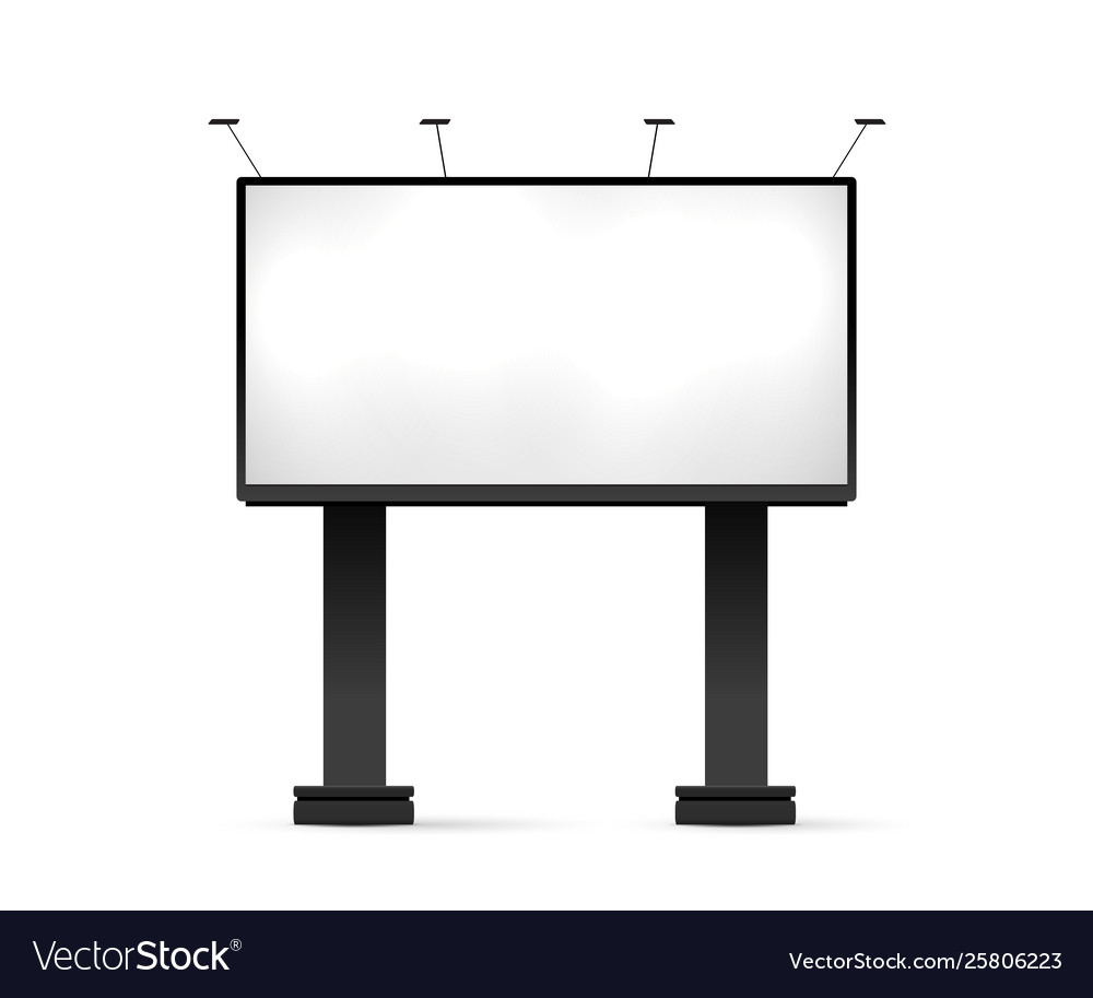 Blank White Billboard Lighting Mockup Isolated