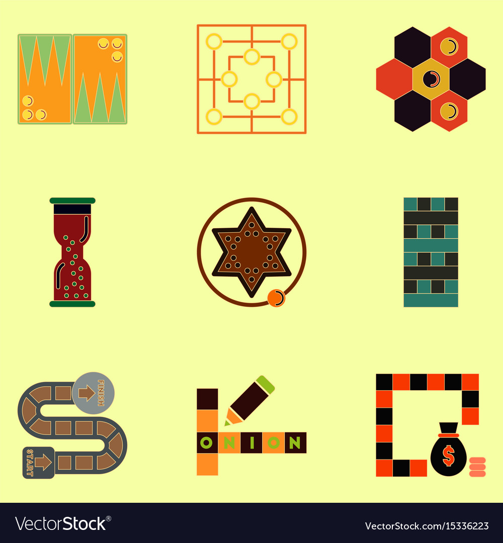 Board games icons set table games for kids vector image