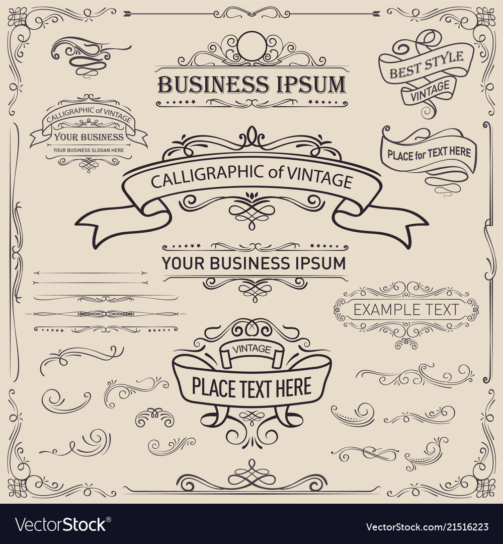 Calligraphic and ribbon banner design elements