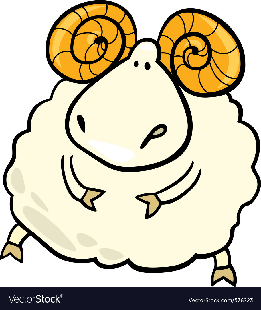 Cartoon of aries zodiac sign