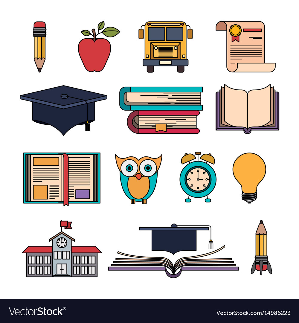 Color set college education items with educational