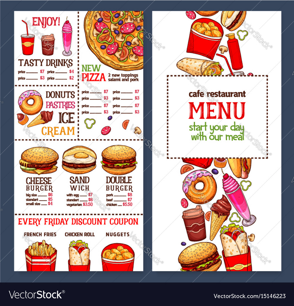 fast food restaurant menu template royalty free vector image