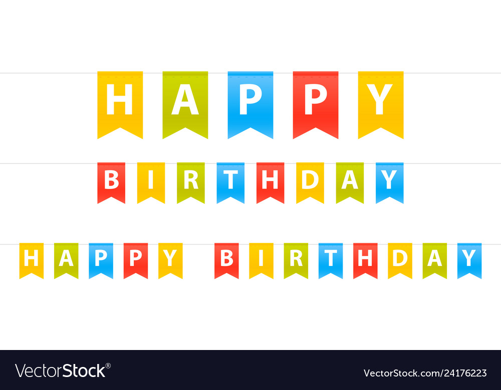 Happy birthday sign flags set isolated in white
