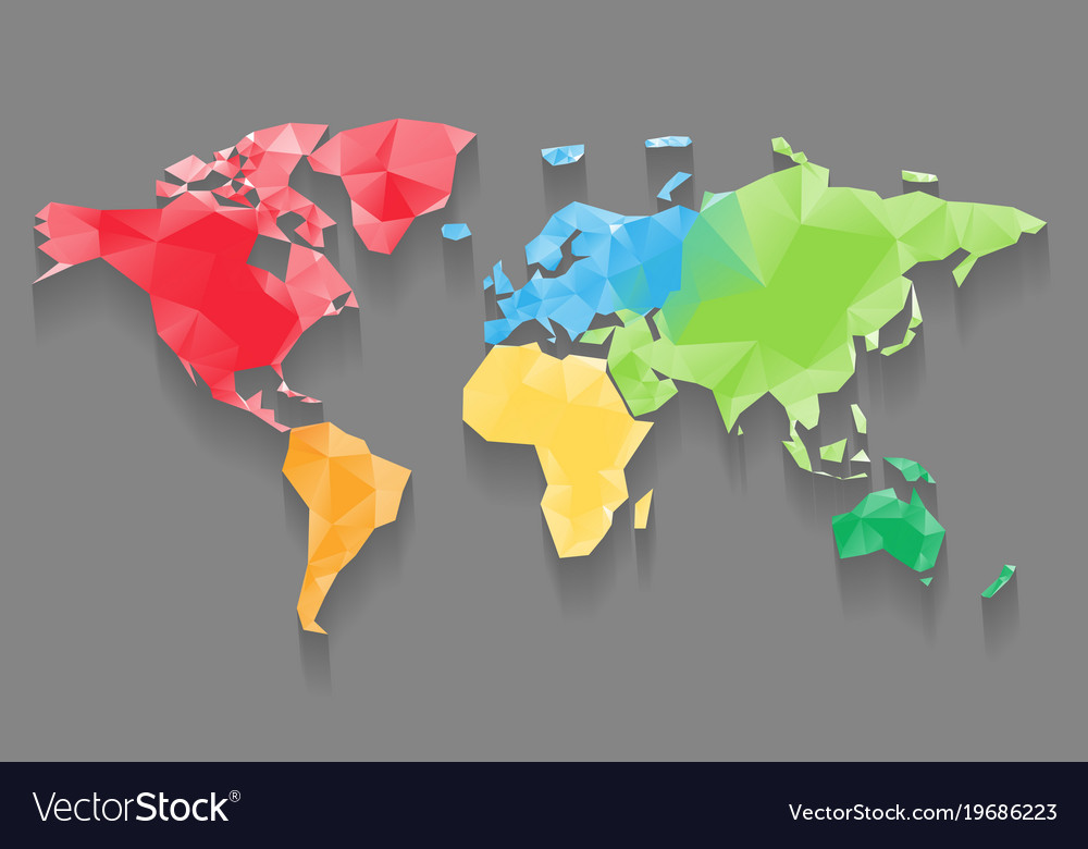 Low poly map of world divided into six continents vector image gumiabroncs Images