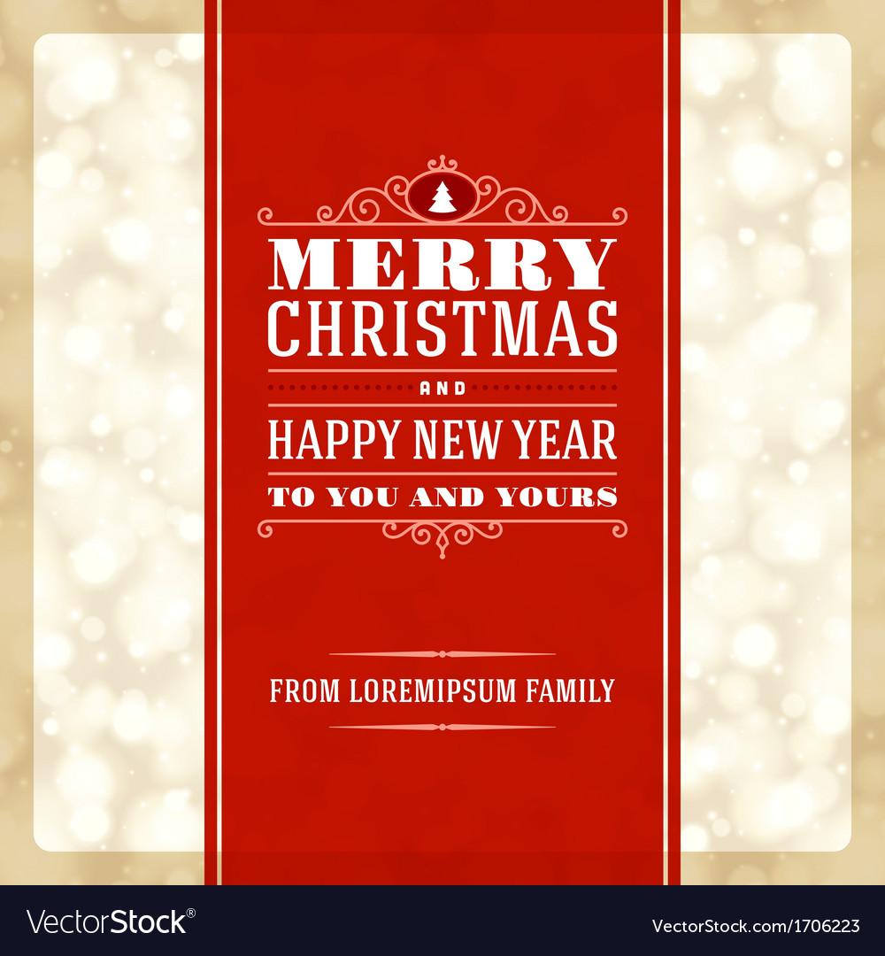 Merry Christmas invitation card ornament decoratio vector image