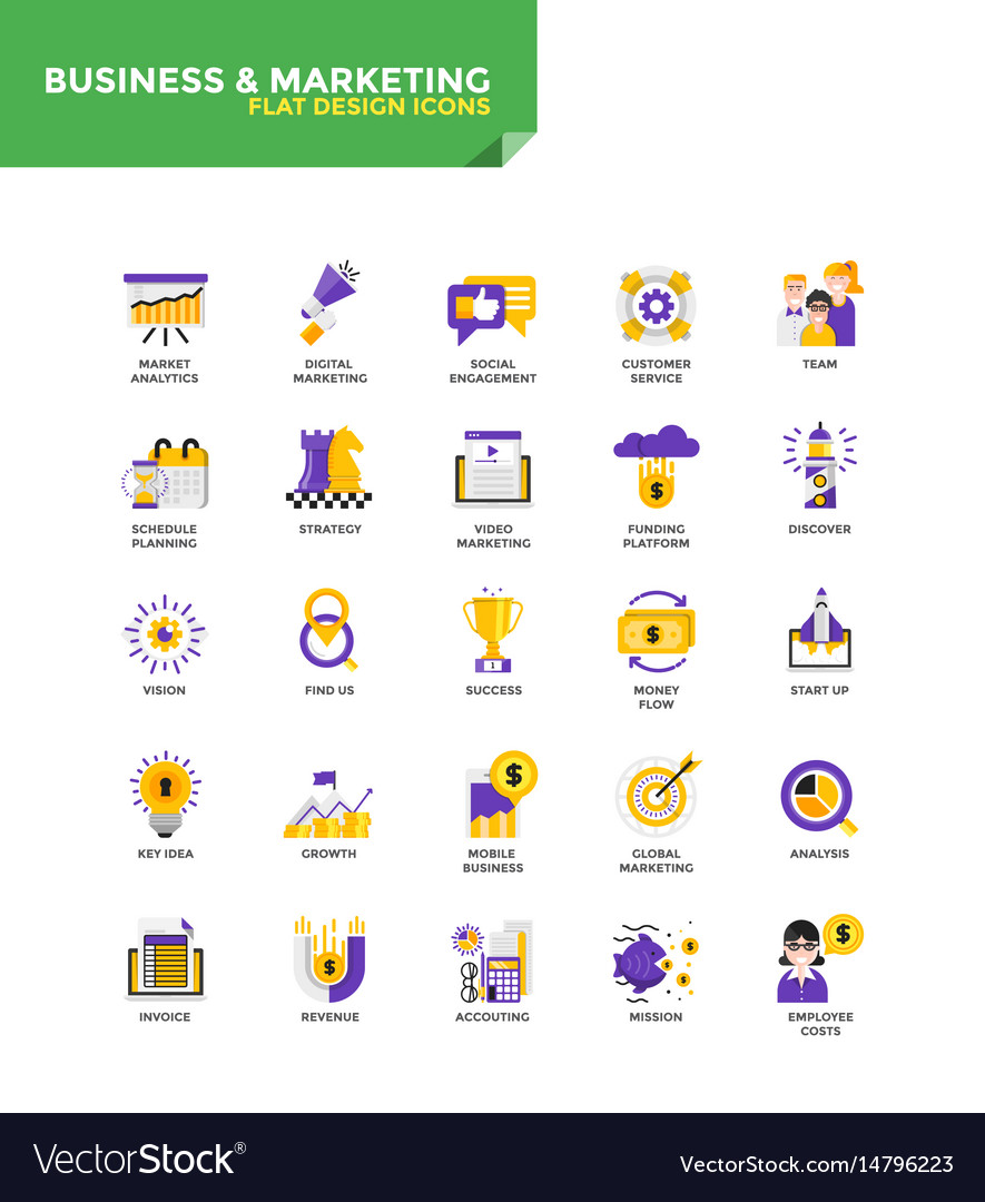 Modern material flat design icons - business and