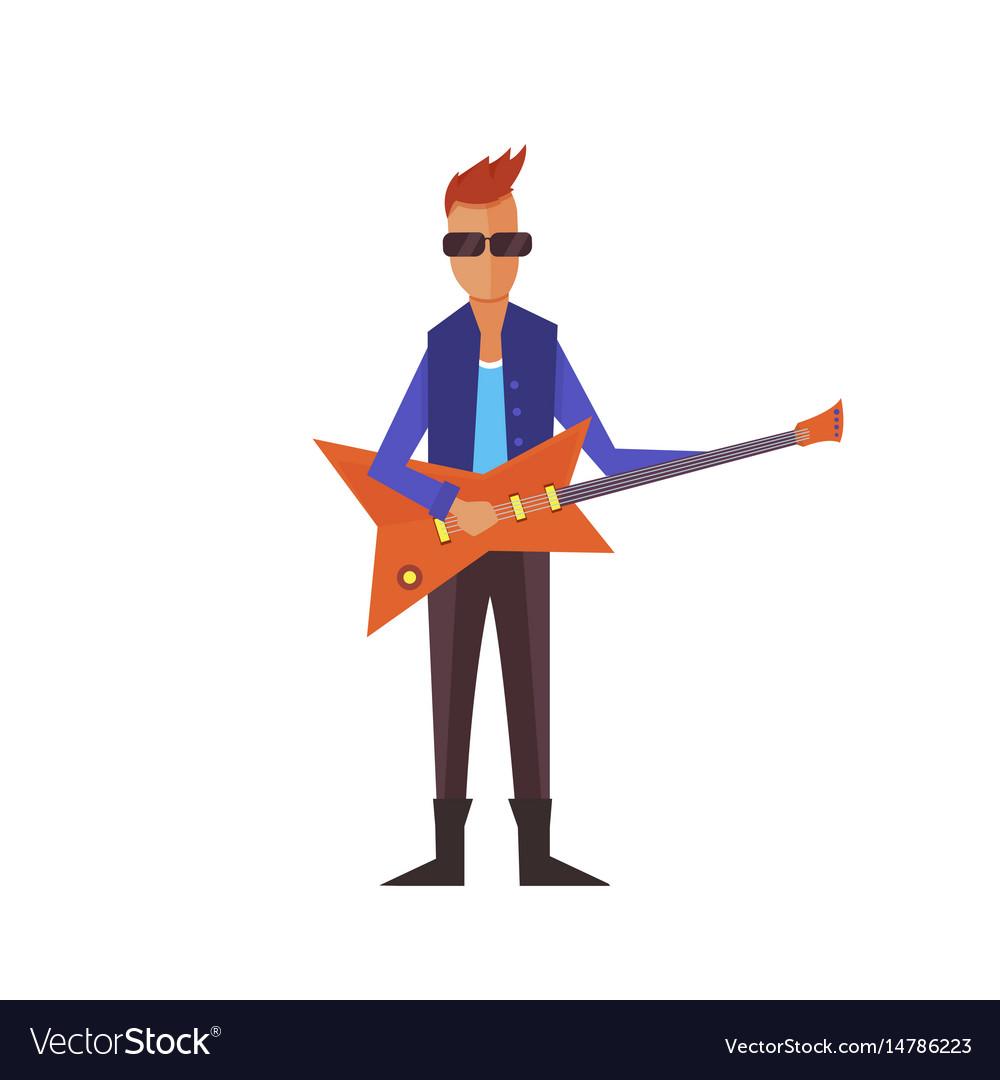 Music pop or rock guitarist singer cartoon boy vector image