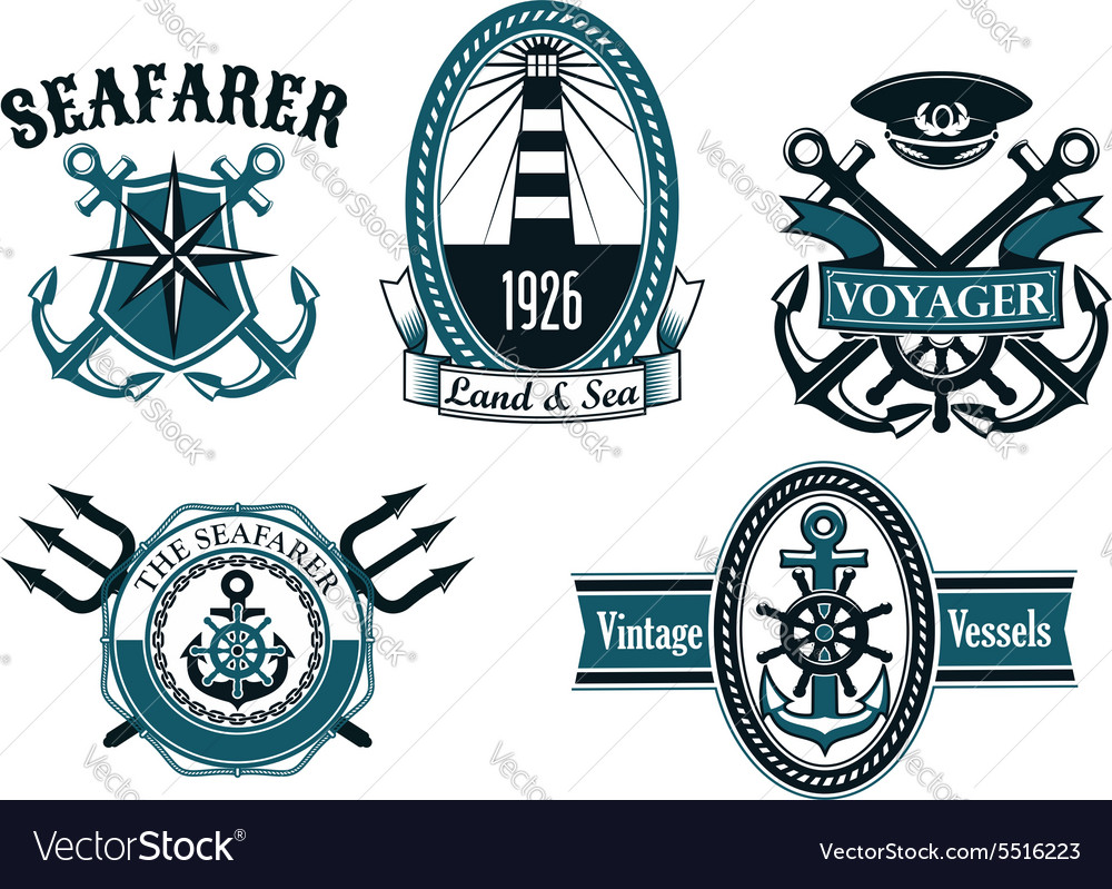 Nautical seafarer voyager and anchors symbols