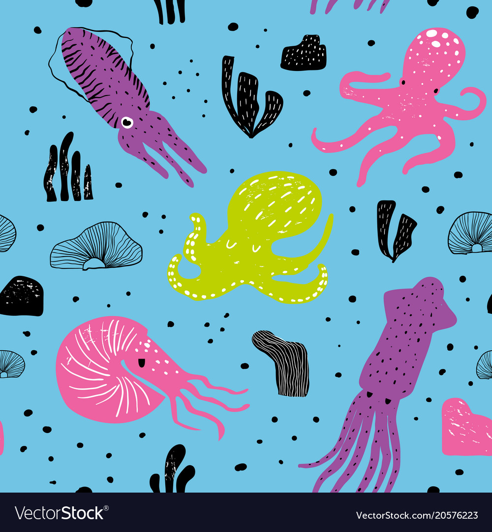 Seamless marine pattern with cute octopus