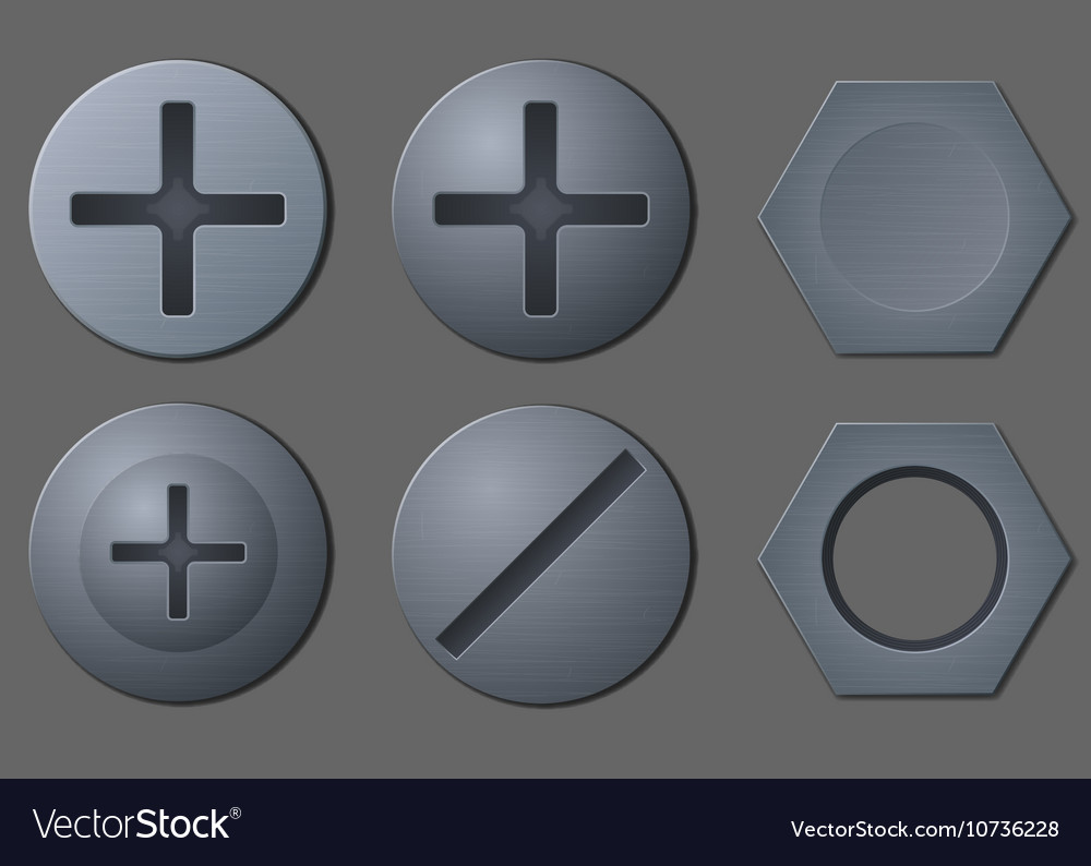 Bolts and nut head set vector image