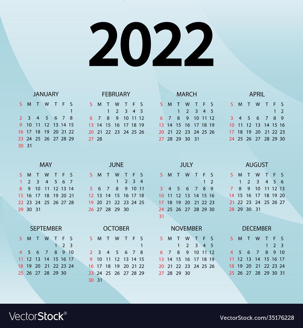 2022 19 Calendar.Calendar 2022 Year Week Starts Sunday Royalty Free Vector