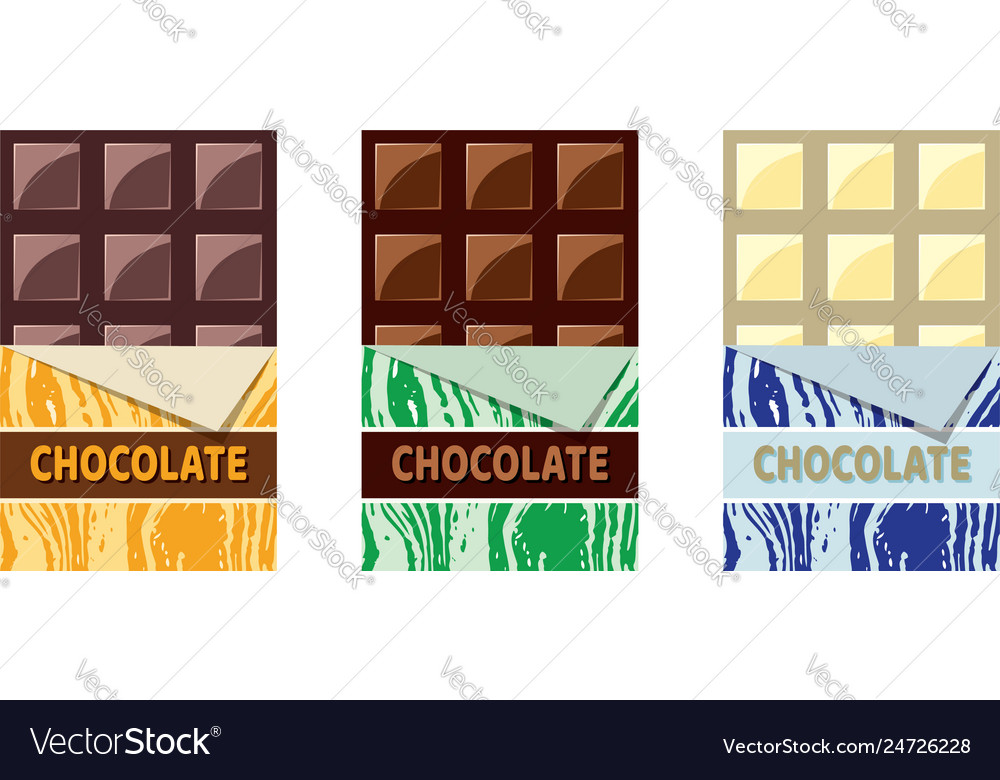Collection of dark milk and white chocolate