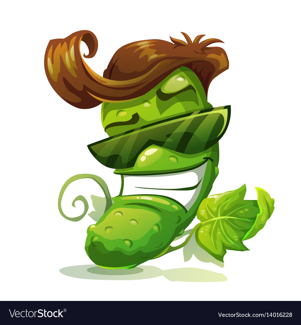 Cucumber character icon vector image