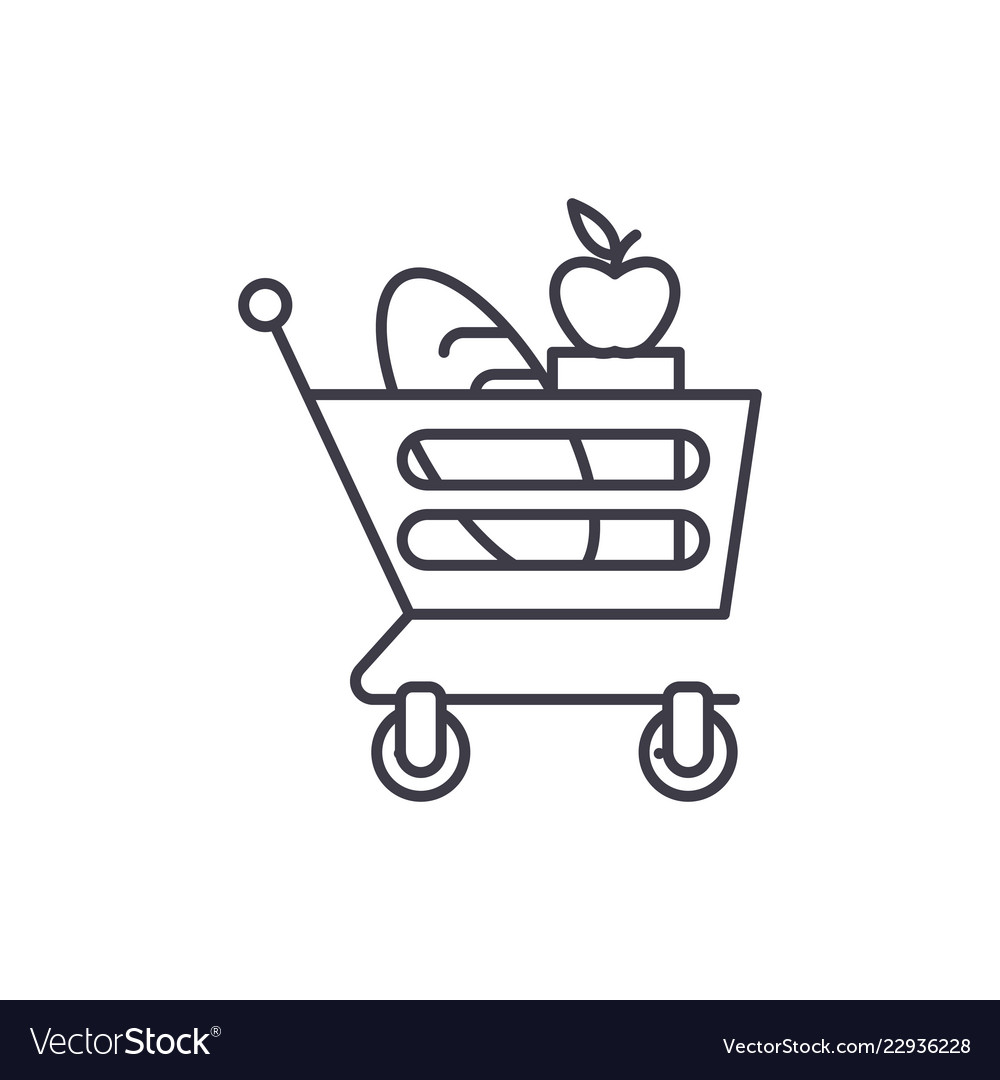 Good food basket line icon concept good food