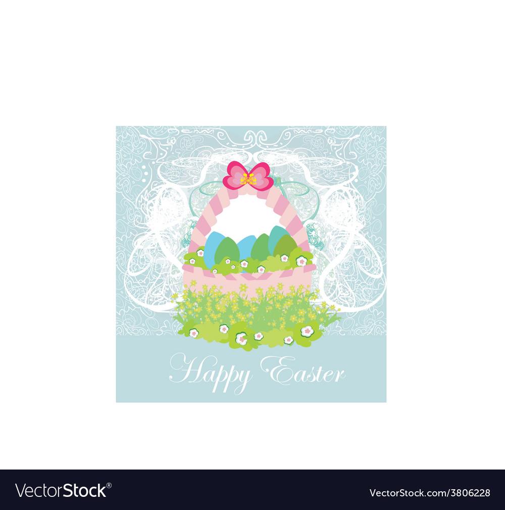Happy easter border vector image