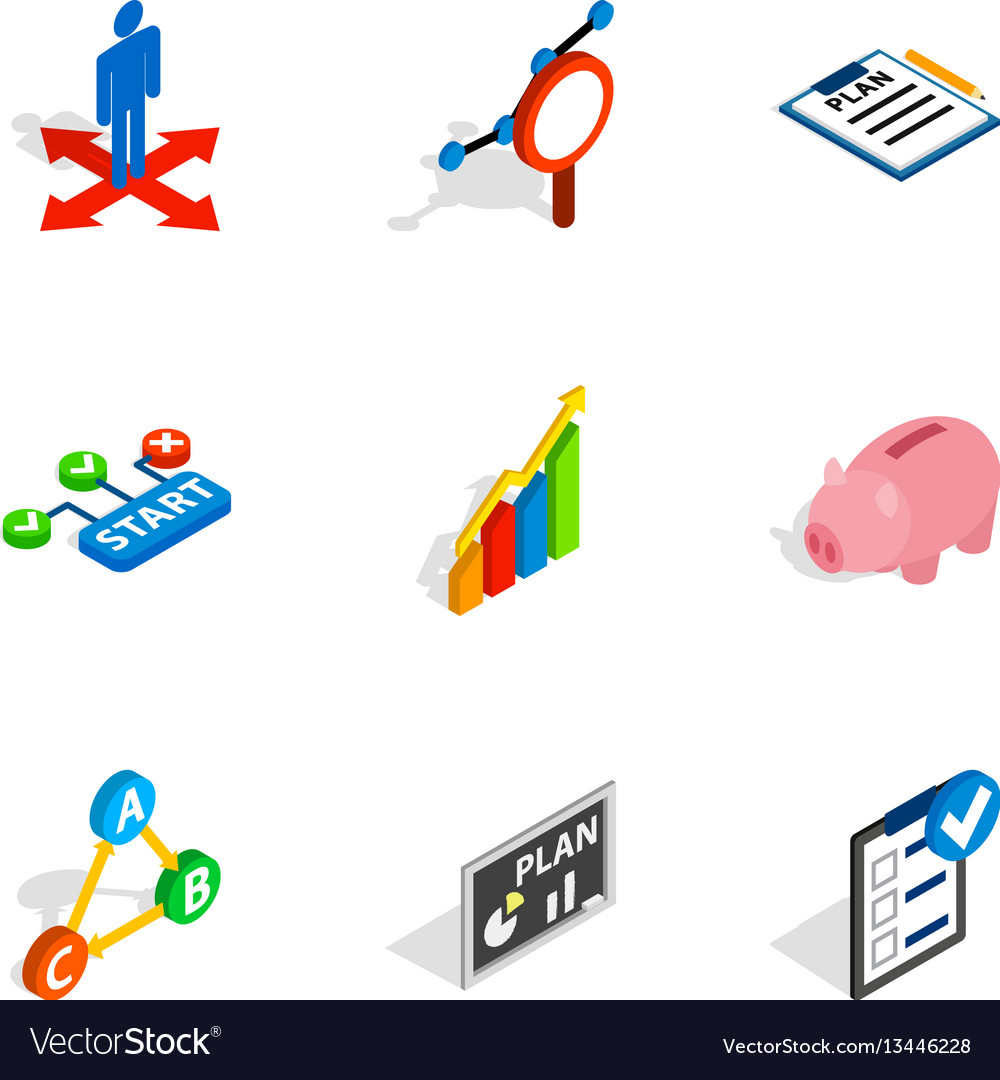Management icons isometric 3d style vector image