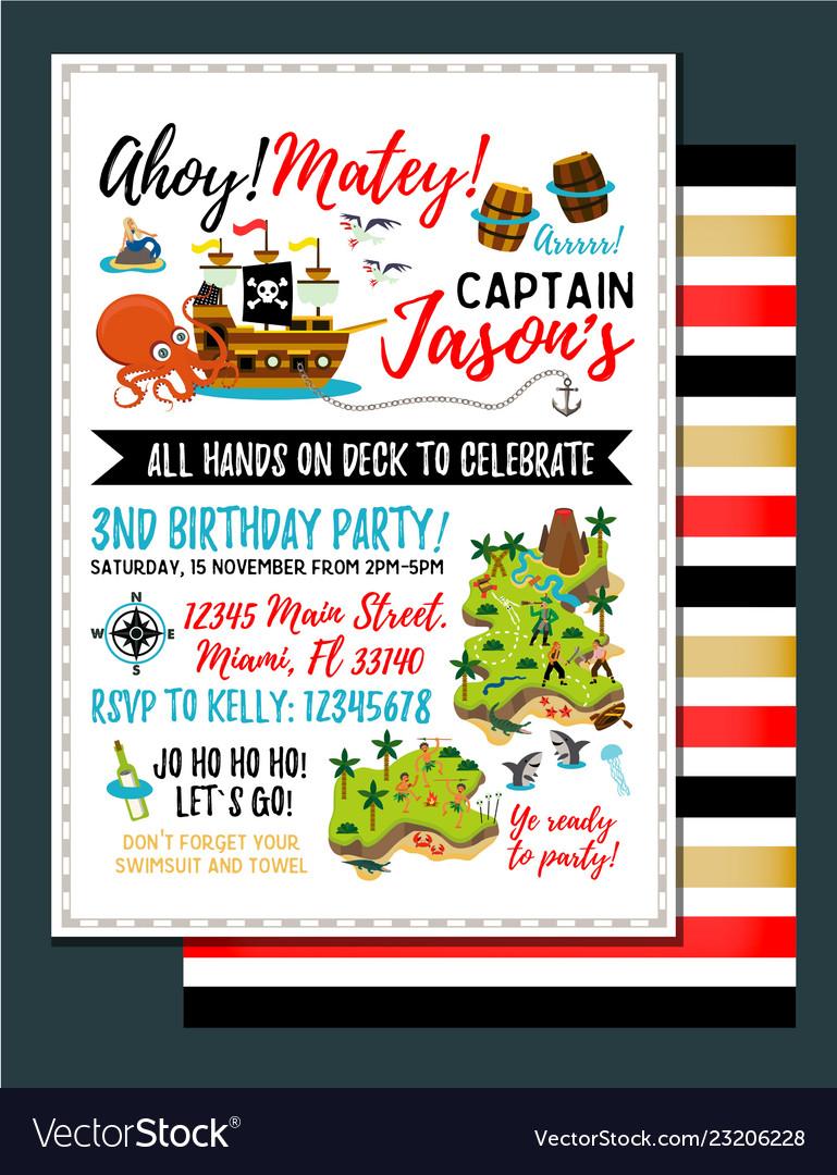 Pirate birthday invitation treasure map
