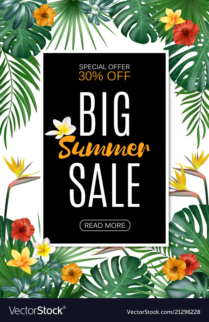 Sale vertical banner poster with palm leaves