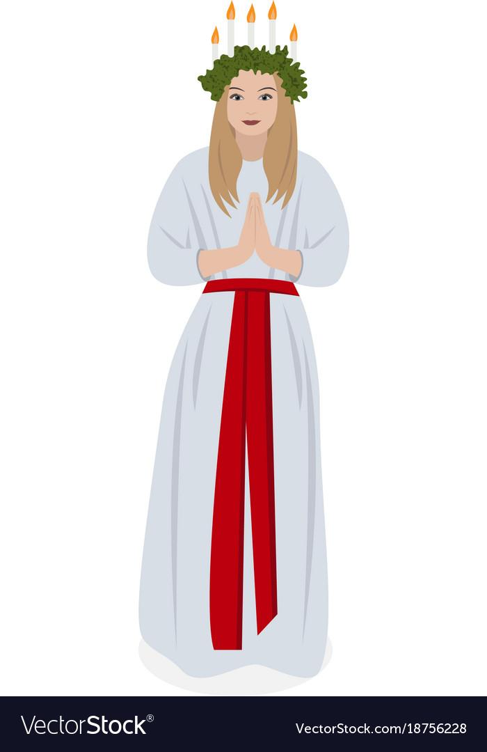 Scandinavian tradition saint lucys vector image