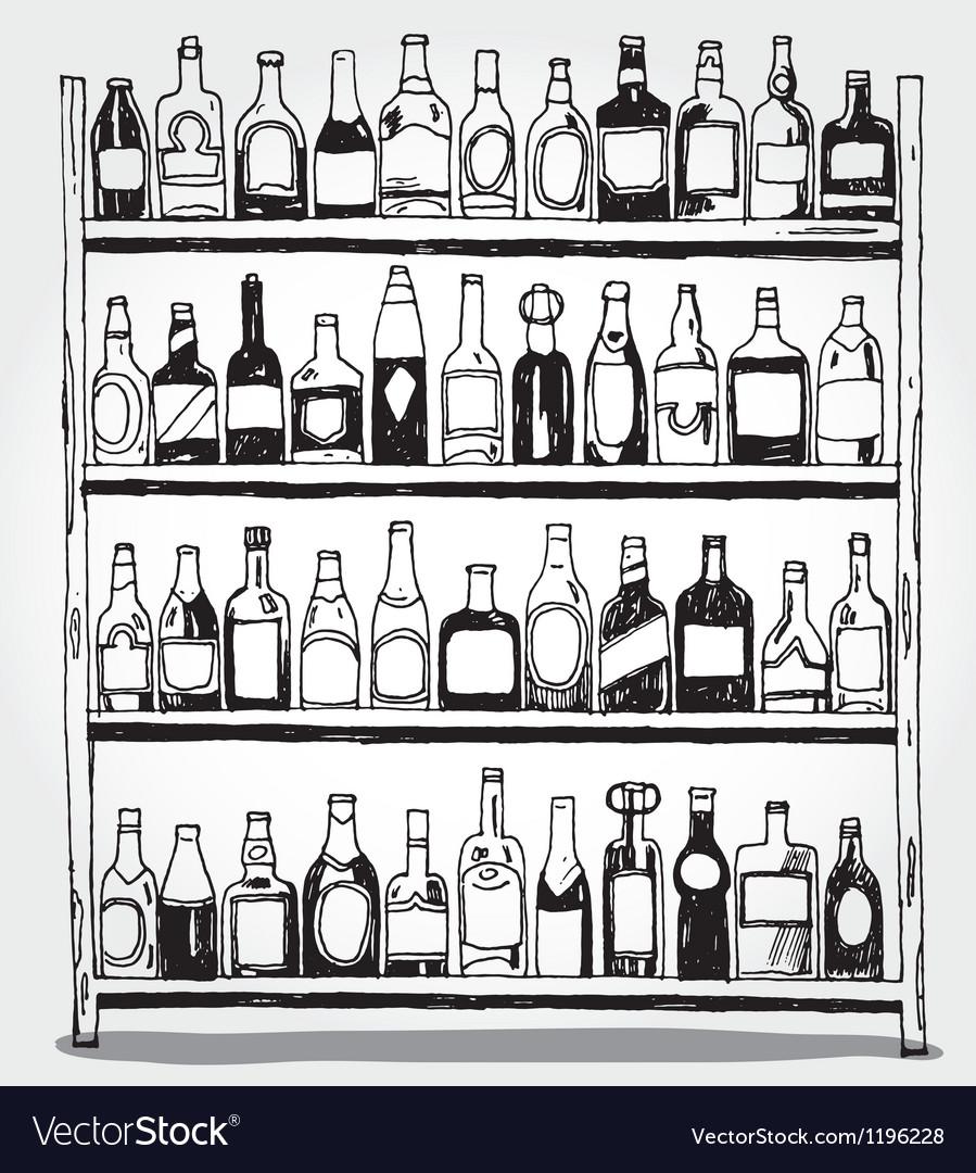 Shelf full of bottles hand drawn vector image
