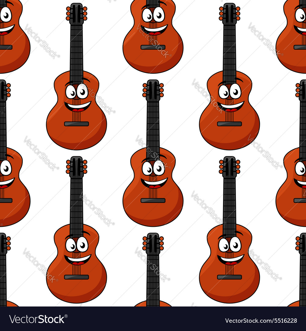 Smiling cartoon acoustic guitar seamless pattern