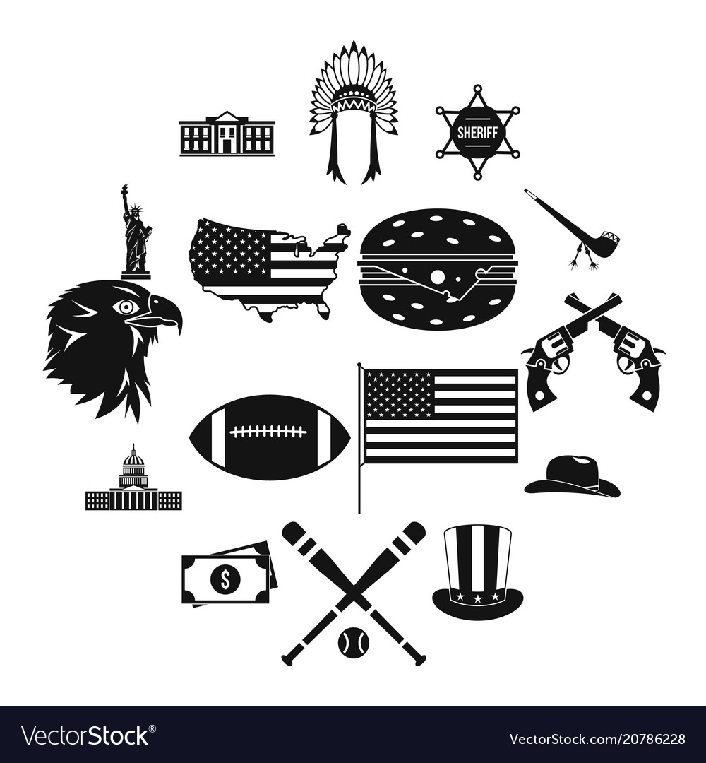 Usa icons set simple style