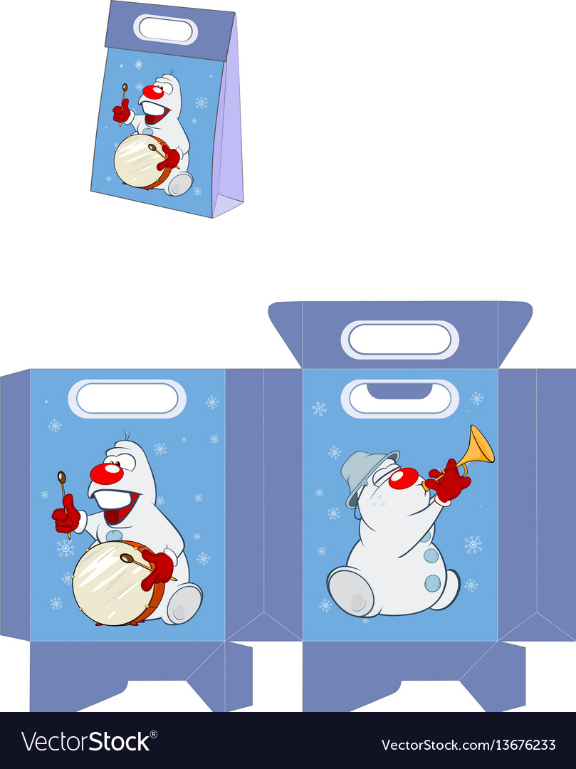 Christmas snowman handbags packages pattern vector image